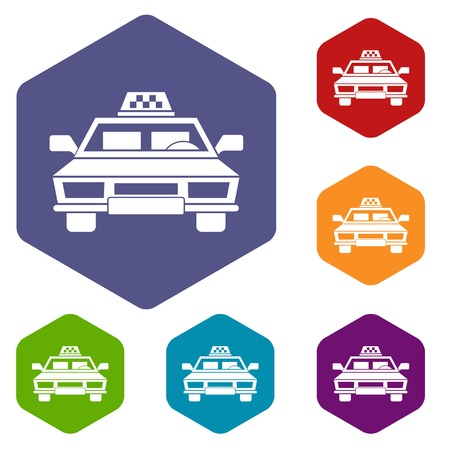 reflection of life: Taxi car icons set rhombus in different colors isolated on white background Illustration