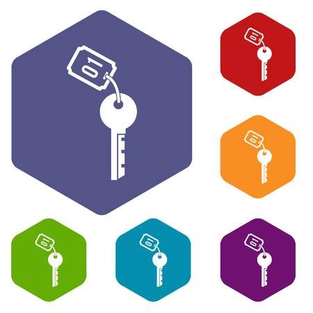 Hotel key icons set rhombus in different colors isolated on white background
