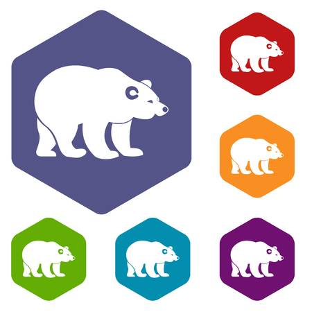Bear icons set rhombus in different colors isolated on white background
