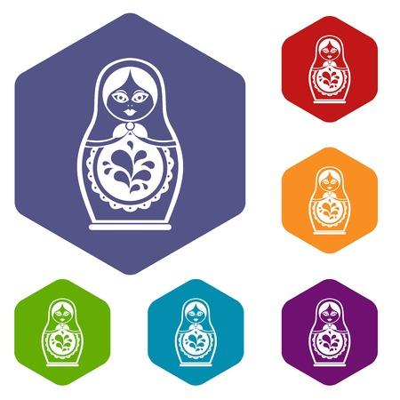 Icônes matriochka définies rhodos différentes couleurs isolé sur fond blanc Banque d'images - 70827531