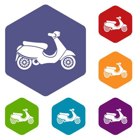 vespa: Vespa scooter icons set rhombus in different colors isolated on white background Illustration