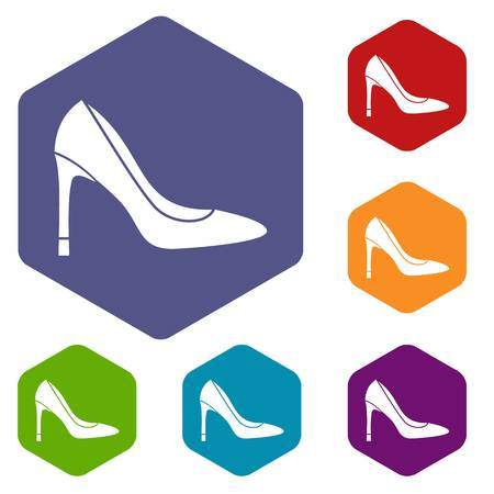 High heel shoe icons set rhombus in different colors isolated on white background