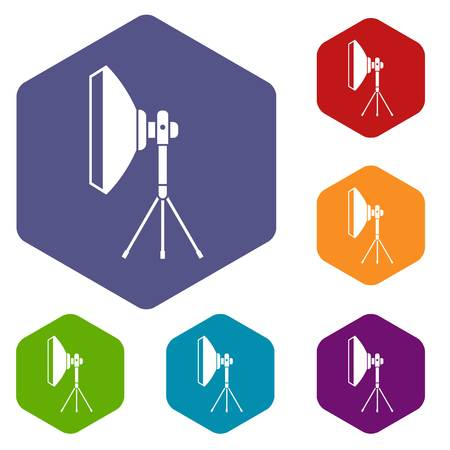 stripbox: Studio lighting equipment icons set rhombus in different colors isolated on white background