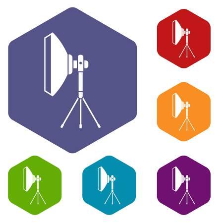 studio lighting: Studio lighting equipment icons set rhombus in different colors isolated on white background