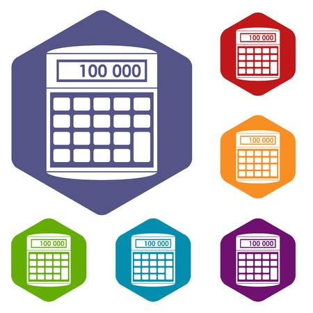 An electronic calculator icons set rhombus in different colors isolated on white background Illustration