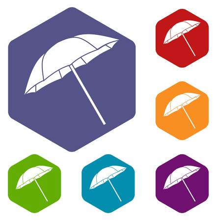 Umbrella icons set rhombus in different colors isolated on white background Illustration