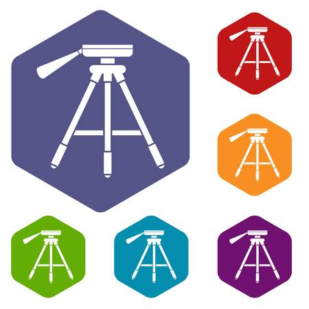 Tripod icons set rhombus in different colors isolated on white background Illustration
