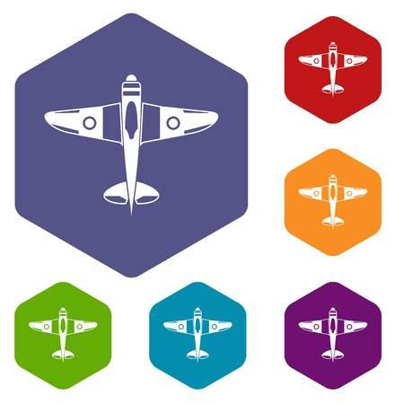 avion chasse: icônes d'avion de chasse militaire mis en losange en différentes couleurs isolé sur fond blanc