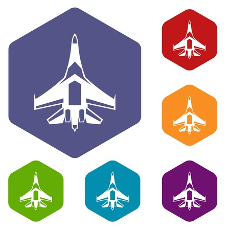 fighter plane: Jet fighter plane icons set rhombus in different colors isolated on white background