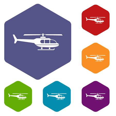 firepower: Military helicopter icons set rhombus in different colors isolated on white background Illustration