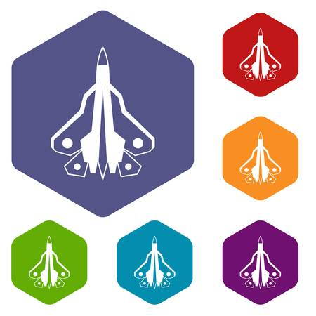 fighter plane: Military fighter plane icons set rhombus in different colors isolated on white background