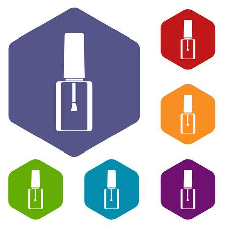 paint container: Nail polish bottle icons set rhombus in different colors isolated on white background Illustration