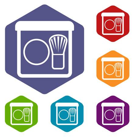 rouge: Rouge with brush icons set rhombus in different colors isolated on white background Illustration