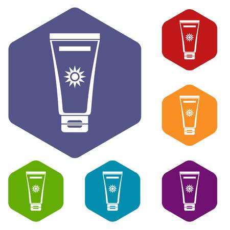 ful: Cream sun protection icons set rhombus in different colors isolated on white background Illustration