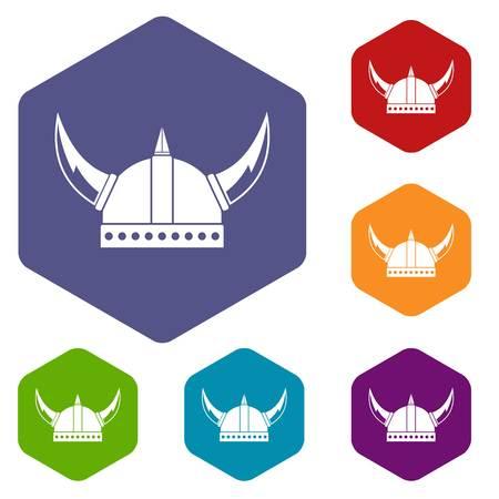 Viking helmet icons set
