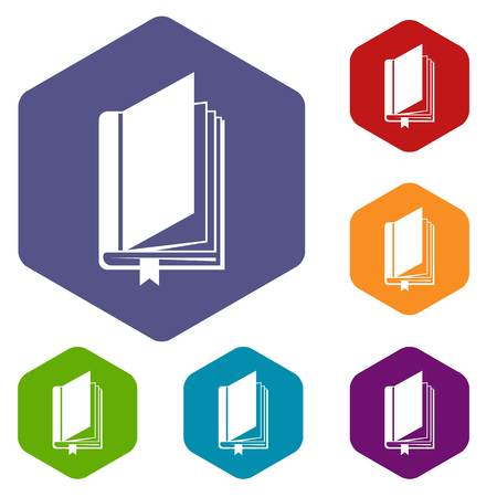 graphic novel: Book with bookmark icons set