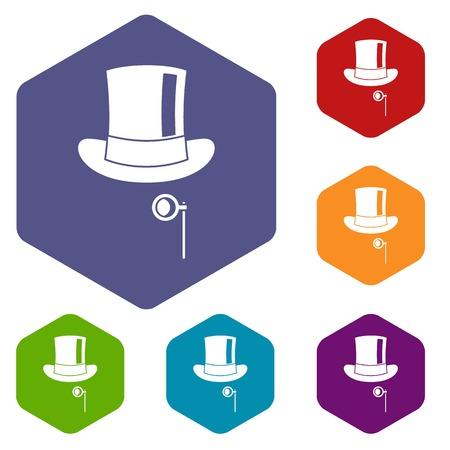 monocle: Hat with monocle icons set Illustration