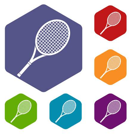 Tennis racket icons set