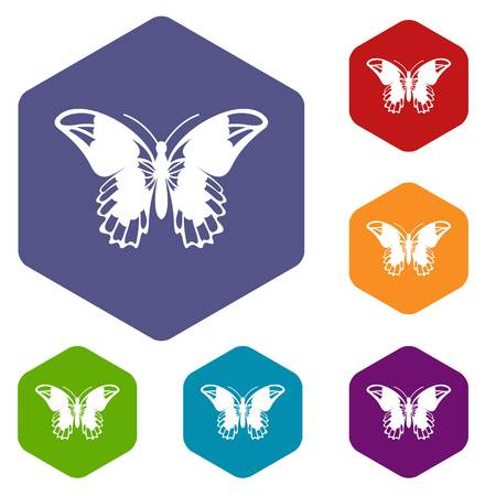 mormon: Admiral butterfly icons set