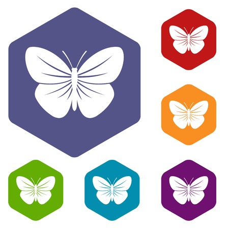 Black butterfly icons set