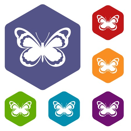 mormon: Small butterfly icons set Illustration