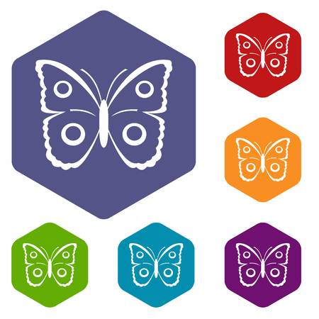 mormon: Butterfly peacock eye icons set Illustration