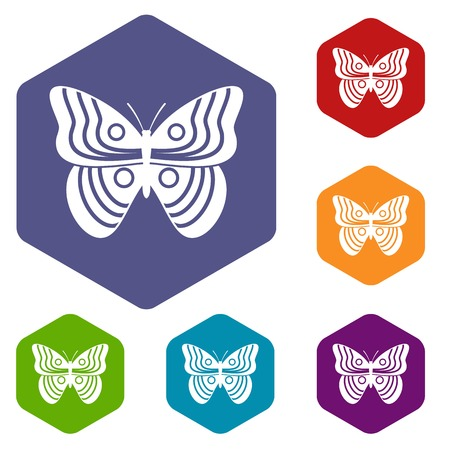 mormon: Stripped butterfly icons set Illustration