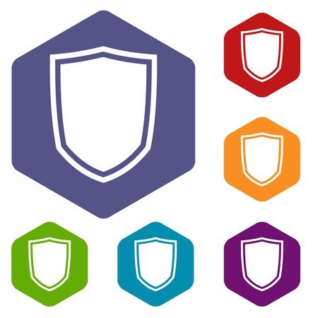 military shield: Military shield icons set Illustration