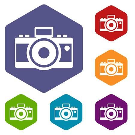 Photocamera icons set