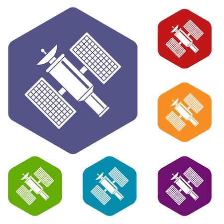 Space satellite icons set Illustration