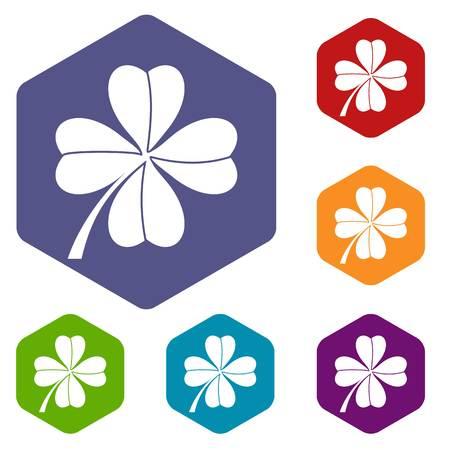 four leaf: Four leaf clover icons set