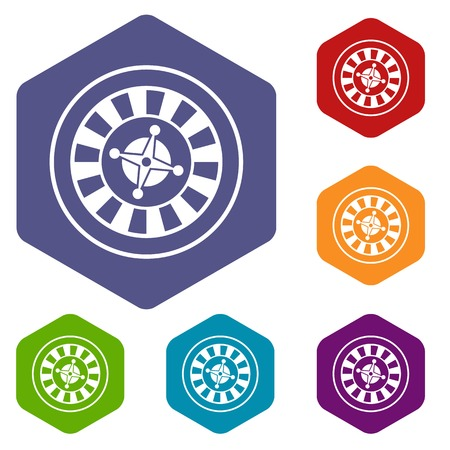 wheel of fortune: Casino gambling roulette icons set