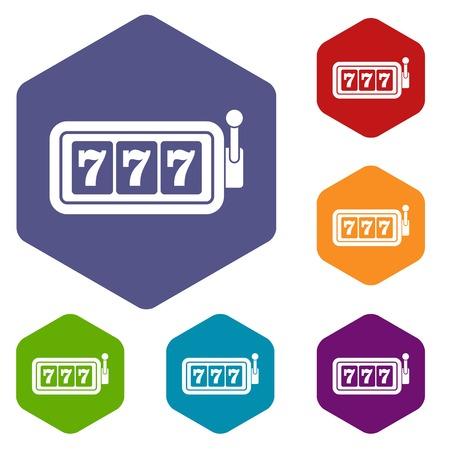 Lucky seven on slot machine icons set Illustration