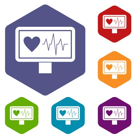 electrocardiograph: Heartbeat icons set Illustration