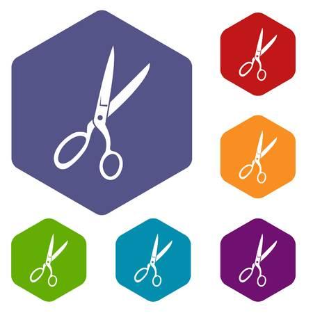 Sewing scissors icons set Illustration