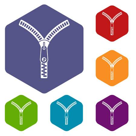 Zipper with lock icons set rhombus in different colors isolated on white background Illustration