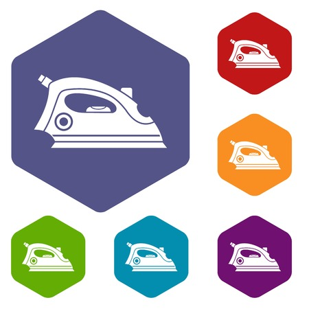 steam iron: Iron icons set rhombus in different colors isolated on white background
