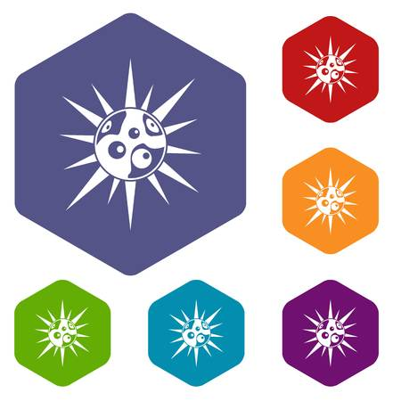 fighting cancer: Round cell virus icons set