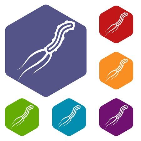 fighting cancer: Dangerous virus icons set