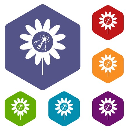 nectar: Bee on flower icons set