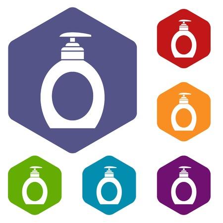 jabon liquido: Liquid soap icons set