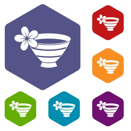 massage symbol: Bowl with water for spa icons set