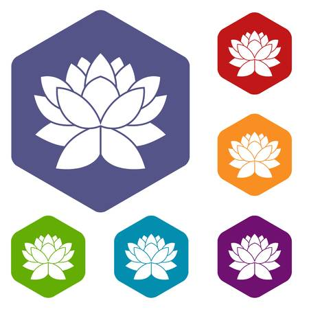 om: Lotus flower icons set