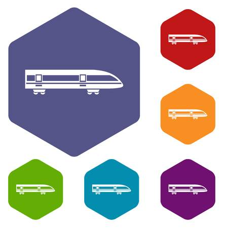 high speed train: Modern high speed train icons set