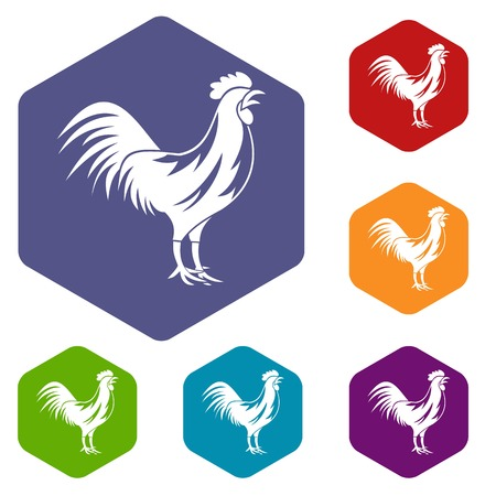 Gallic rooster icons set Illustration
