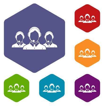 operators: Customer support operators icons set
