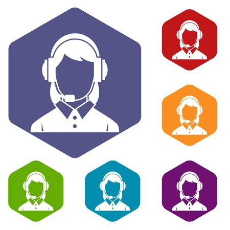 headset business: Business woman with headset icons set