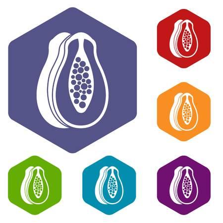 Papaya icons set