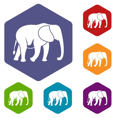 srilanka: Wild elephant icons set