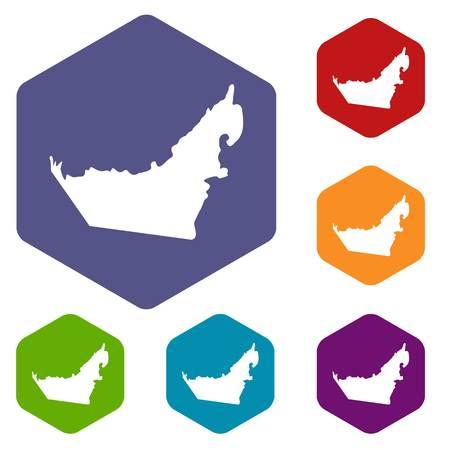United Arab Emirates map icons set